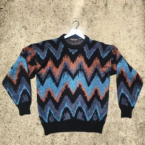 Vintage Chevron Oversized Dad Sweater SZ L